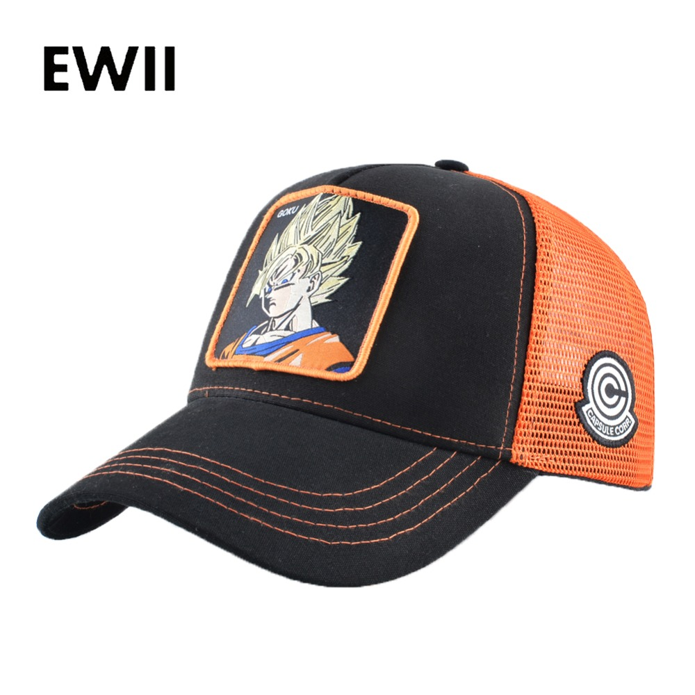 Summer snapback   caps   men dragon ball embroidery   baseball     cap   womern hip hop dad hats for men fashion trucker hat goku gorras