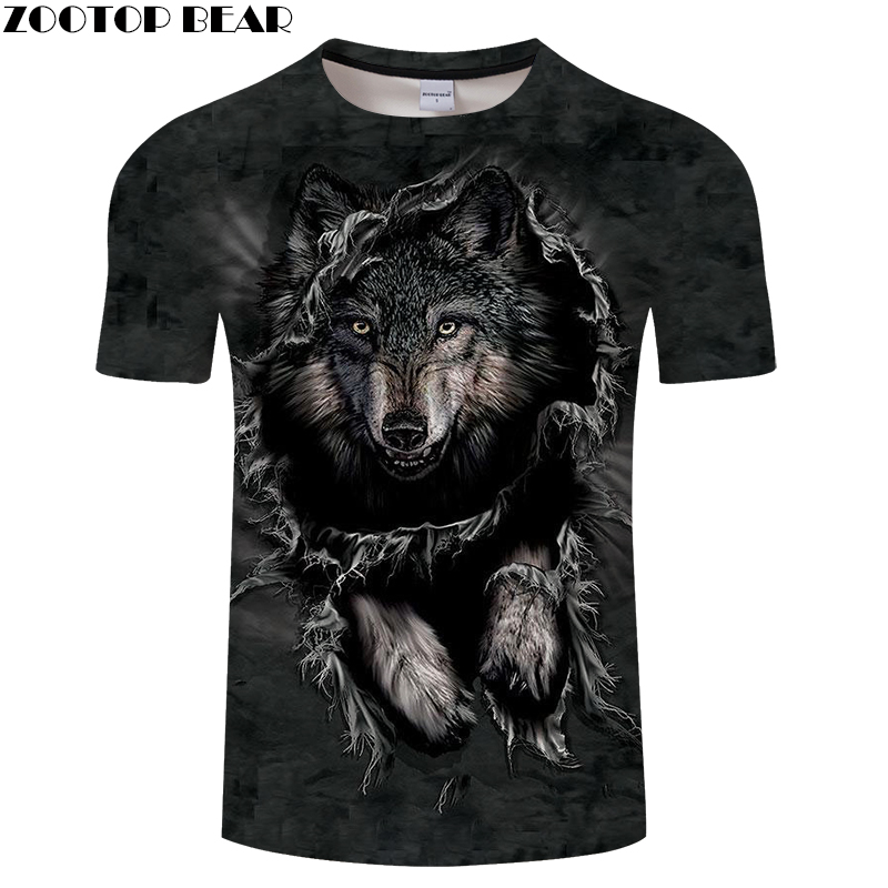 Wolf 3D Print t shirt Men Women tshirt Summer Funny Short Sleeve O-neck Tops&Tee Streetwear Black Classic Drop Ship ZOOTOP BEAR