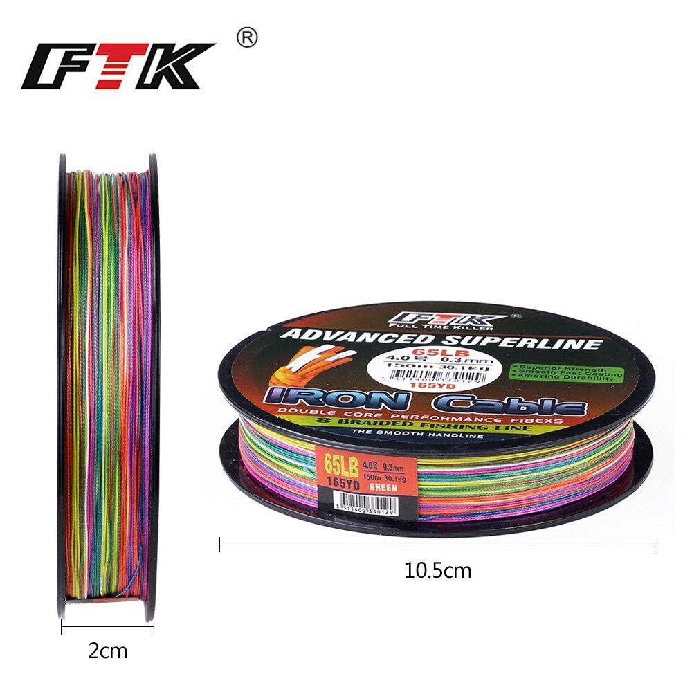 FTK 150 M líneas 8 trenzado Mutil alambre trenzado 1,0 #-6,0 # código 23-85LB 0,16mm -0,40mm diámetro/mm Super resistencia a la abrasión