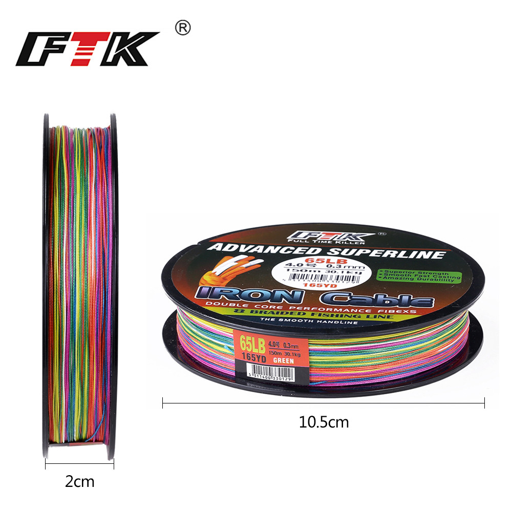 FTK  Fishing Line 150M Lines 8 Braided Mutil Braided Wire 1.0#-6.0# Code 23-85LB 0.16MM-0.40MM DIA/mm Super Abrasion Resistance