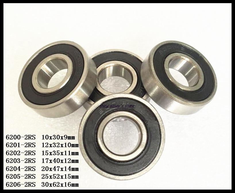 3-5pcs/Lot 6204-2RS , 6205-2RS , 6206-2RS Rubber Sealed Deep Groove Ball Bearing Miniature Bearing Brand New 5pcs lot 6000 2rs 6000 rs 10x26x8mm rubber sealed deep groove ball bearing miniature bearing