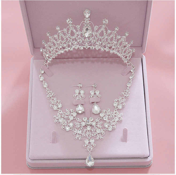 3PCS Rhinestone Crystal Bridal Jewelry Sets Necklaces Earrings Tiaras Sets African Beads Jewelry Sets Wedding Engagement Jewelry