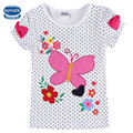 Summer cotton kids t shirt nova baby clothes embroidery girls tops cheap retail  kids t shirts wholeale polka dot tee for child
