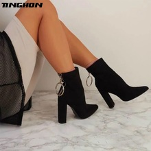 TINGHON Fashion Ladies Boots Square heel PU Leather Ankle Boots Pointed Toe High Heels Sexy Ladies Shoe Pump Shoes