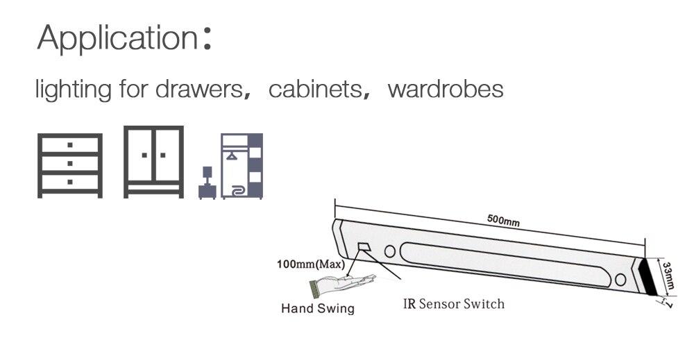 СИД сенсор шам 50см DC12V 30Leds 5050 ИК-мұқият - LED Жарықтандыру - фото 4