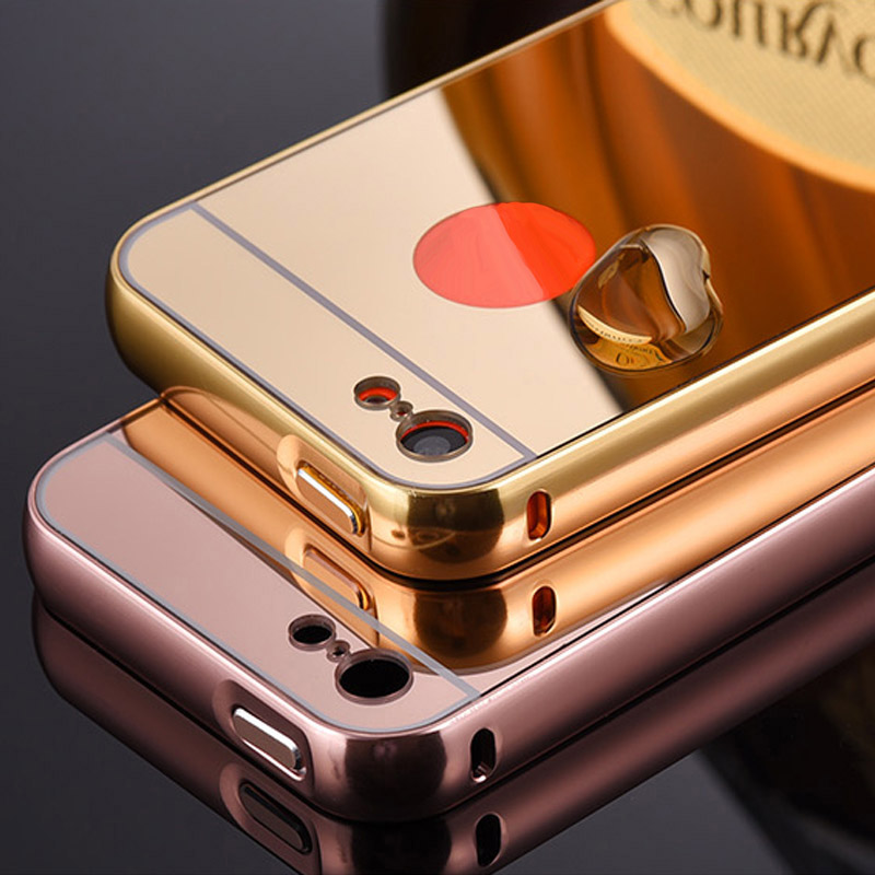 Luxury metal aluminum frame mirror acrylic back cover for Coque iphone 4 miroir