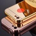 Moldura de alumínio luxo metal + espelho acrílico de volta caso capa para apple iphone 5c capa estojo coque 160730 p15