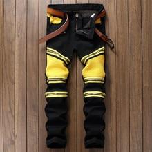 Mens Vintage Embellished Moto Pants Bling Coated Black Yellow Biker Jeans Slim Trousers,patchwork pantalones hombre black  jeans
