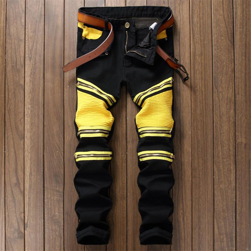 Mens Vintage Embellished Moto Pants Bling Coated Black Yellow Biker   Jeans   Slim Trousers,patchwork pantalones hombre black   jeans