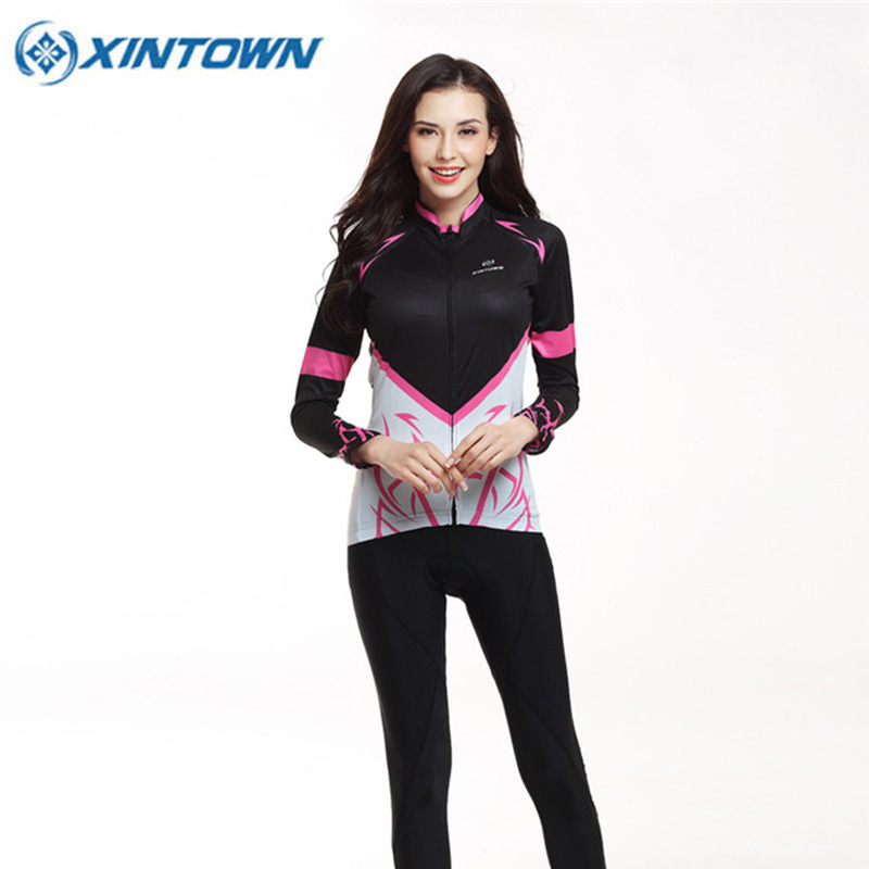 XINTOWN Women Female Autumn Cycling Jersey Breathable Ropa Ciclismo MTB Bike Sweat Clothing Maillot Bicycle Clothing 4 Colors