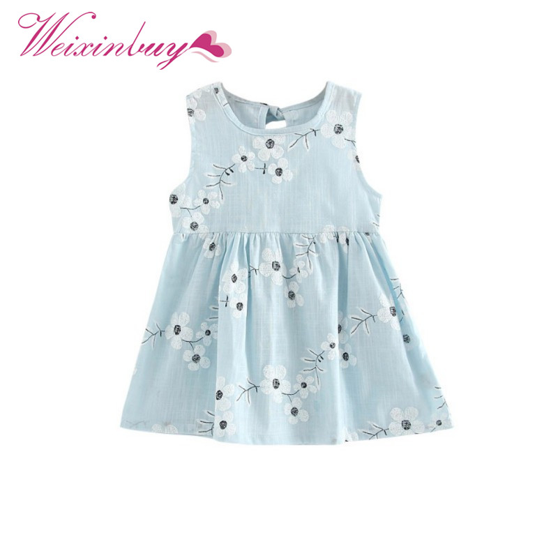 Toddler Girl Party Dresses A-line Summer Dress Sleeveless Floral Printed Kid Princess Party Dance Evening Fit For 1-5Y Child ems dhl free shipping toddler little girl s 2017 princess ruffles layers sleeveless lace dress summer style suspender
