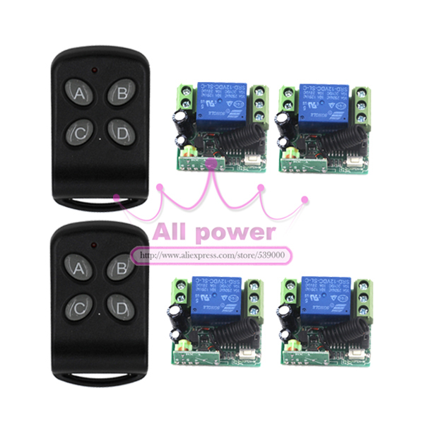 12V 3 Ways Wireless Digital Remote control Switch With 2 Transmitter + 4 receiver 315/433 MHZ, Latch/Momentary/Toggle remote switch 12v dc rf wireless 4 receiver 3 transmitter lighting digital switch learning code toggle momentary 315 433 92mhz
