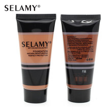 Selamy Brand New Beauty Black Liquid Foundation Cream Makeup Women Dark Color Foundation Concealer Liquid Make Up Base 40ML