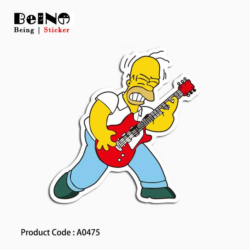 Simpsons Play Guitar Music Lover Sticker Toy Waterproof Suitcase