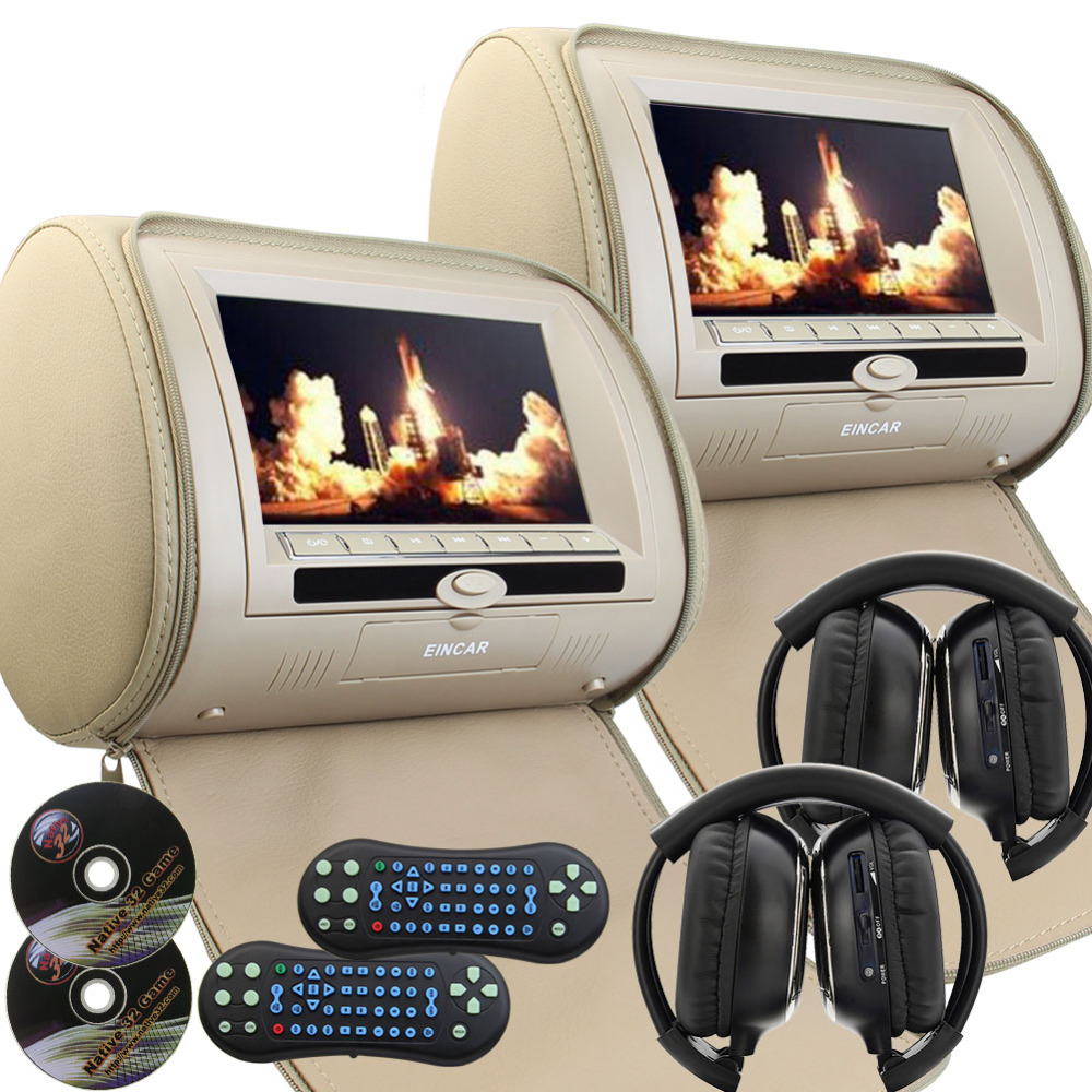 A Pair of 9 inch LCD Dual Screen Headrest monitor DVD player USB/SD/MP3/MP4 FM transmitter IR AV-in seat monitor+2 IR headphones eincar car 9 inch car dvd pillow headrest two monitor lcd screen usb sd 32 bit game fm ir multimedia player free 2 ir headphones