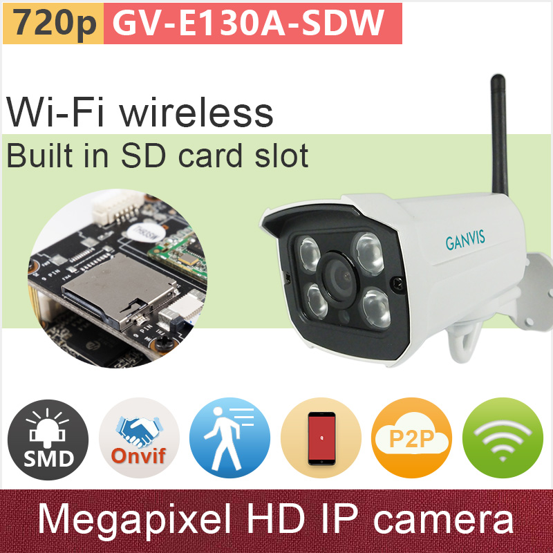 SD + Wifi wireless IP cameras mini outdoor ONVIF Megapixel 720P HD security surveillance video CCTV camera GANVIS GV-E130A-SDW new 720p mini ip camera wireless p2p cam onvif hd wifi cameras cctv security system with audio for home door video