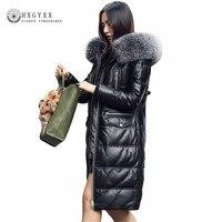 2018 натуральная кожа куртка Для женщин белый парка пуховик с утиным пухом тонкие длинные натуральный мех мода с капюшоном свободные овчины