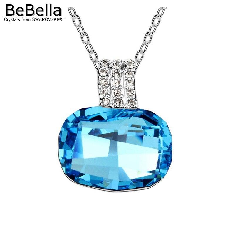 BeBella большой серый Хрустальный каменный кулон ожерелье сделано с австрийскими кристаллами от Swarovski для женщин подарок - Окраска металла: Aquamarine