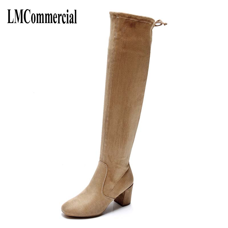 2017 autumn and winter women boots knee boots with thick high-heeled children fashion all-match high elastic cylinder boots цены онлайн