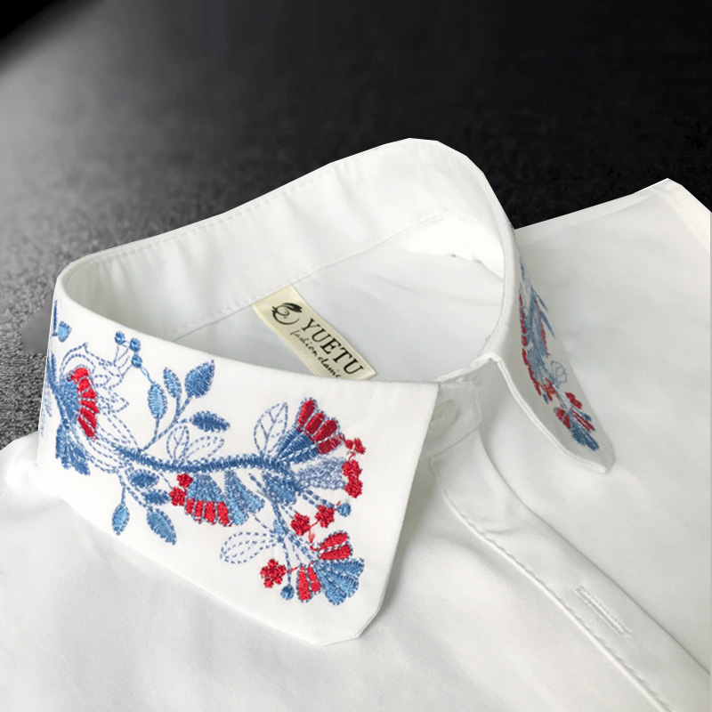 Vintage Women's Fake Collar Shirt 2018 New Ladies New Floral Embroidery Fake Shirt Collar White Women False Collar Detachable