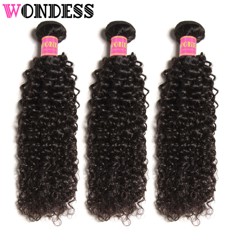Wondess Hair Curly Weave 3 Bundles Unprocessed Indian Virgin Hair 8-26inch Human Hair Bundles Natural Color Hair Extensions