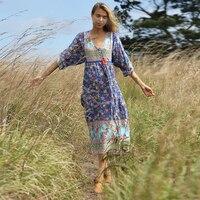 KHALEE YOSE Summer Boho Midi Dress Floral Women Beach Dresses 2019 Long Sleeve Pocket V neck Lace Up Plus Siez Long Gypsy Dress