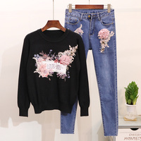 2019 New Spring Women's Flower Beads Embroidered Knitted Sweater + Denim Trousers Two Piece Female Autumn Pencil Pants Suit