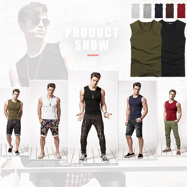 MYDBSH 2019 Summer Cotton Round neck Solid T Shirts Casual Sleeveless T Shirt Men Fitness Bodybuilder T-Shirt Muscle Man Tshirt
