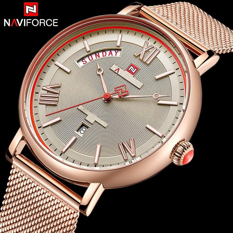 NAVIFORCE Top Brand Luxury Men Quartz Watches Stainless Steel Mesh Waterproof Watches Classic Men's Wristwatch Relogio Masculino