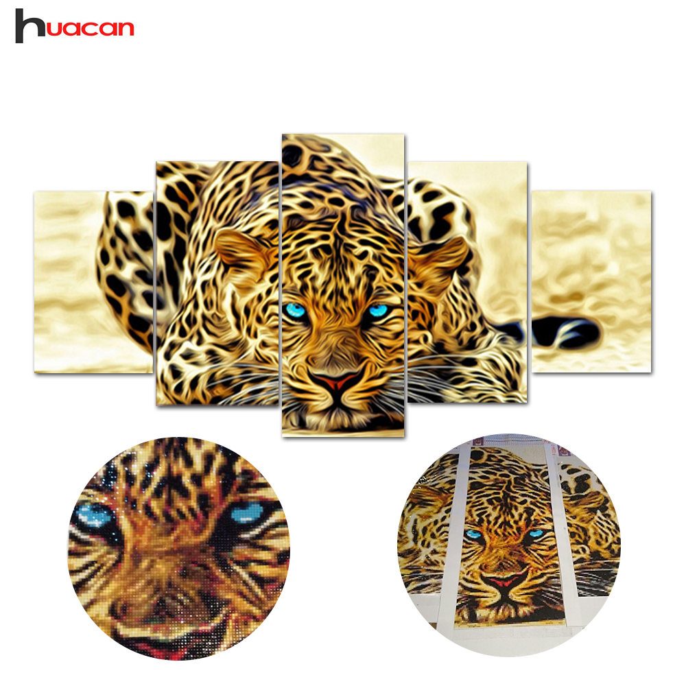 5D diy diamond painting animal tiger pictures of rhinestones 5pcs square cross stitch needlework home decorative relative gifts