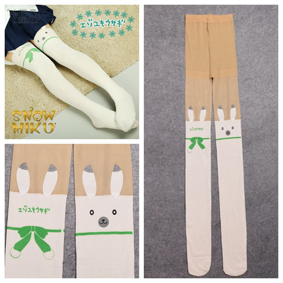 Anime White VOCALOID Cosplay Women Lovely Snow Miku Rabbit Tights Pantyhose Props