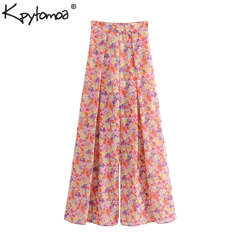 Vintage Chic Floral Print Chiffon   Wide     Leg     Pants   Women 2019 Fashion Side Zipper Back Elastic Trousers Casual Pantalon Mujer