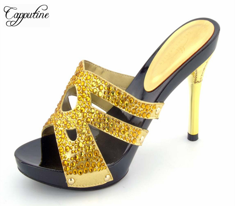 цены Capputine New Fashion PU Leather Double Color Shoes And Bag Set Italian Style Woman Shoes And Matching HandBag Set For Party
