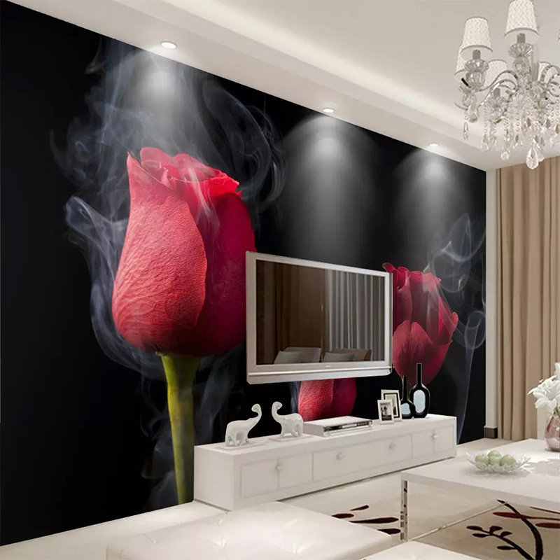 Custom Any Size Wall Cloth Romantic Smoke Red Rose Mural 3D Wallpaper Living Room TV Bedroom Background Home Decoration Fresco