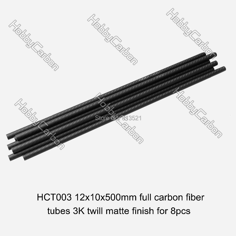 12x10x500mm 8 pcs/pack livraison gratuite en gros tubes en fibre de carbone 3k pour jouets RC/pilotes/bateau à voile cerf-volant - 2