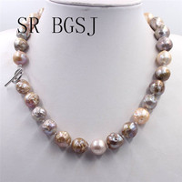 Free Shipping 12 14mm Elegant Jewelry Nearly Knot Round Reborn Edsion Freshwater Big Pearl Necklace 18
