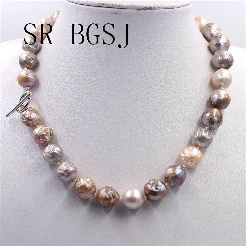 Livraison gratuite 12-14mm bijoux élégants presque noeud rond Reborn Edsion eau douce grand collier de perles 18