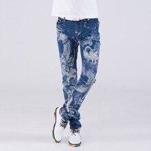 7d8f6b08e3cc 2019 frühjahr neue Herbst Europa Stil Einzigartige Dragon gedruckt jeans  männer blau beiläufige dünne druck gewaschen jeans männ.