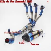 צינור פליטה של אופנוע רוצח DB פחמן Z900 להחליק על מערכת שלמה עבור קוואסאקי אופנוע Z900 Z 900 פליטה + התיכון צינור