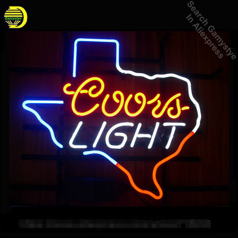 NEON SIGN For COORS LIGHT TEXAS SIGN Signboard REAL GLASS BEER BAR PUB display christmas Light Signs 17*14 neon lightsNEON SIGN For COORS LIGHT TEXAS SIGN Signboard REAL GLASS BEER BAR PUB display christmas Light Signs 17*14 neon lights