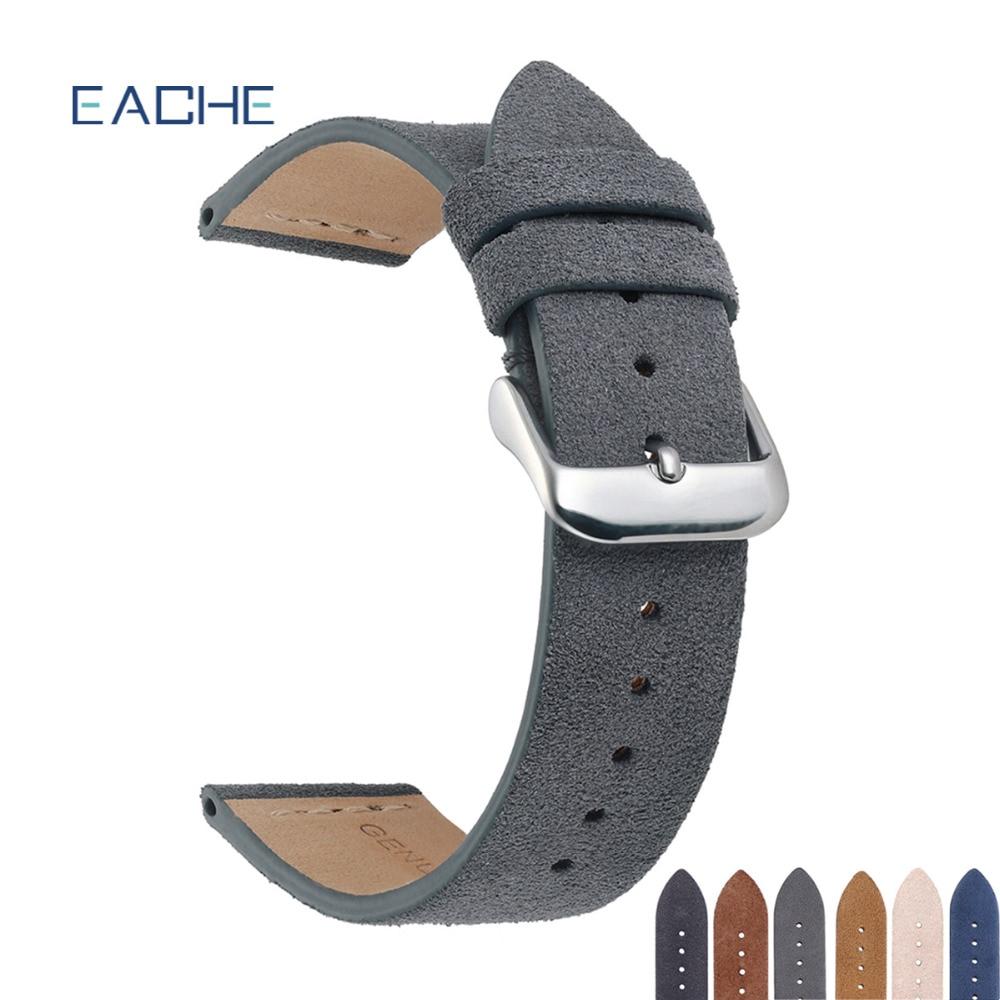EACHE Suede Leather Watchband Hot Sale Beige Light Brown Dark Brown Beige Green Black Grey Watch Straps 18mm 20mm  22mm
