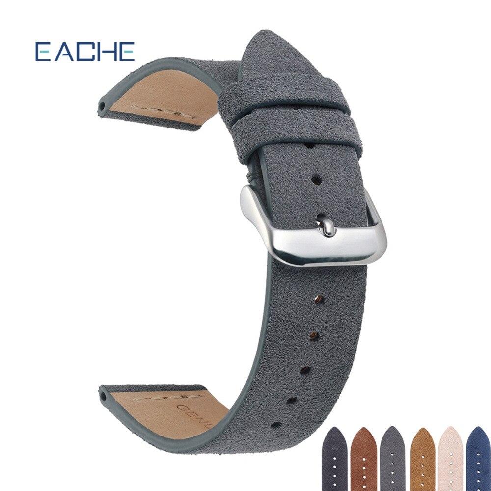 EACHE Wildleder Leder Armband Heißer Verkauf Beige Licht Braun Dunkelbraun Beige Grün Schwarz Grau Uhr Straps 18mm 20mm 22mm