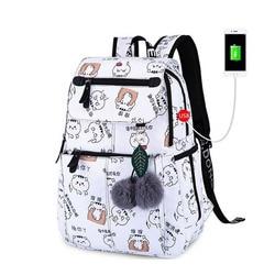 FengDong female fashion school backpack usb school bags for girls white backpack plusch ball teenage girl schoolbag mochila
