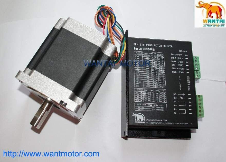 Wantai Nema 34 Stepper Motor 85BYGH450D 008,1090oz in+Driver DQ860MA 80V 7.8A 80V 256Micro CNC Grind Foam Plasma