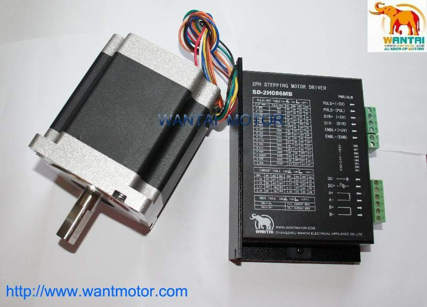 Wantai Nema 34 Stepper Motor 85BYGH450D-008,1090oz-in+Driver DQ860MA 80V 7.8A 80V 256Micro CNC Grind Foam Plasma [usa for free] wantai 5pcs stepper motor driver dq860ma 80v 7 8a 256micro cnc router mill cut engraving grind foam embroidery