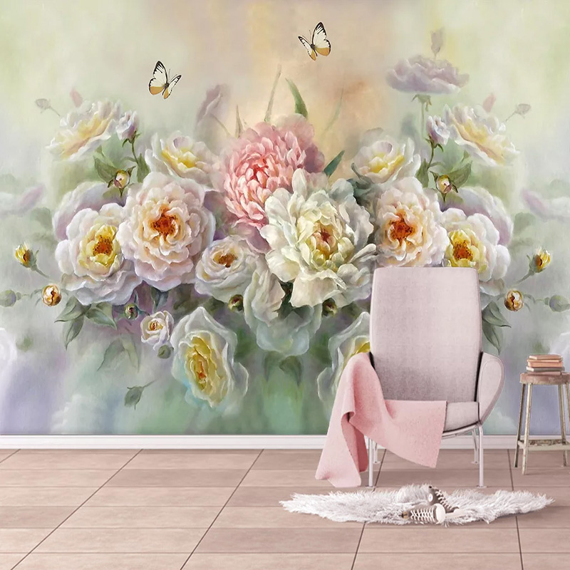 Custom Mural Wallpaper European Style Hand-painted Beautiful Rose Flower Butterfly Sticker TV Sofa Background Wall Papers Decor