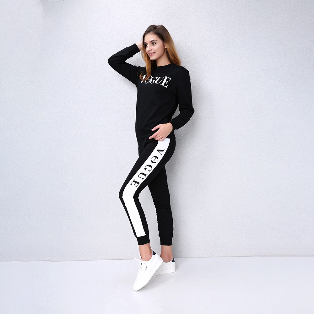 Casual fashion set Vogue sweatshirt + long pants tracksuit for women 2