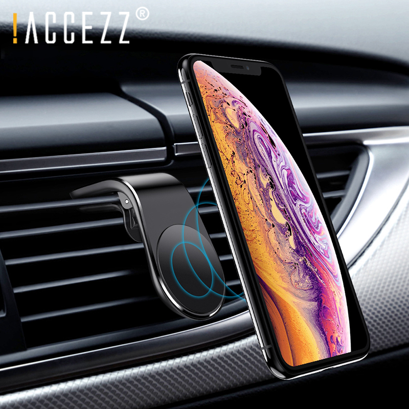 !ACCEZZ Magnetic Car Phone Holder L Shape Air Vent Clip In Car Magnet Universal Mobile Phone For Iphone XS Huawei Bracket Stand