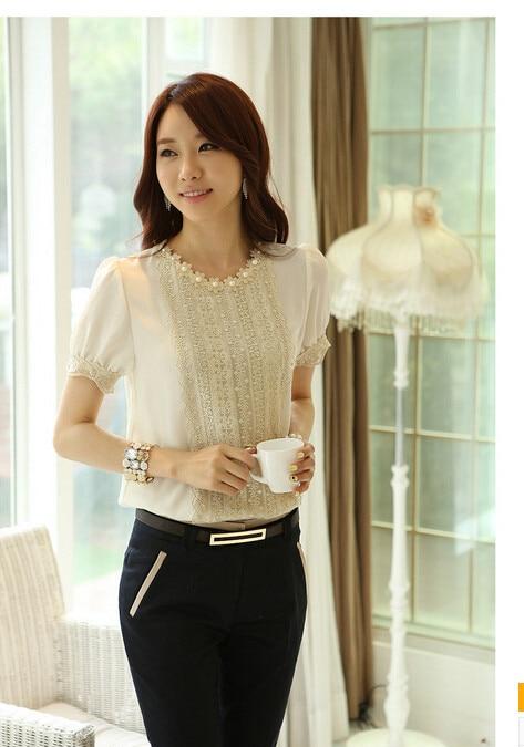 10 шт./партия,, женский в Корейском стиле, повседневный шифоновый топ, однотонный кружевной короткий рукав, круглый вырез, летний женский белый топ