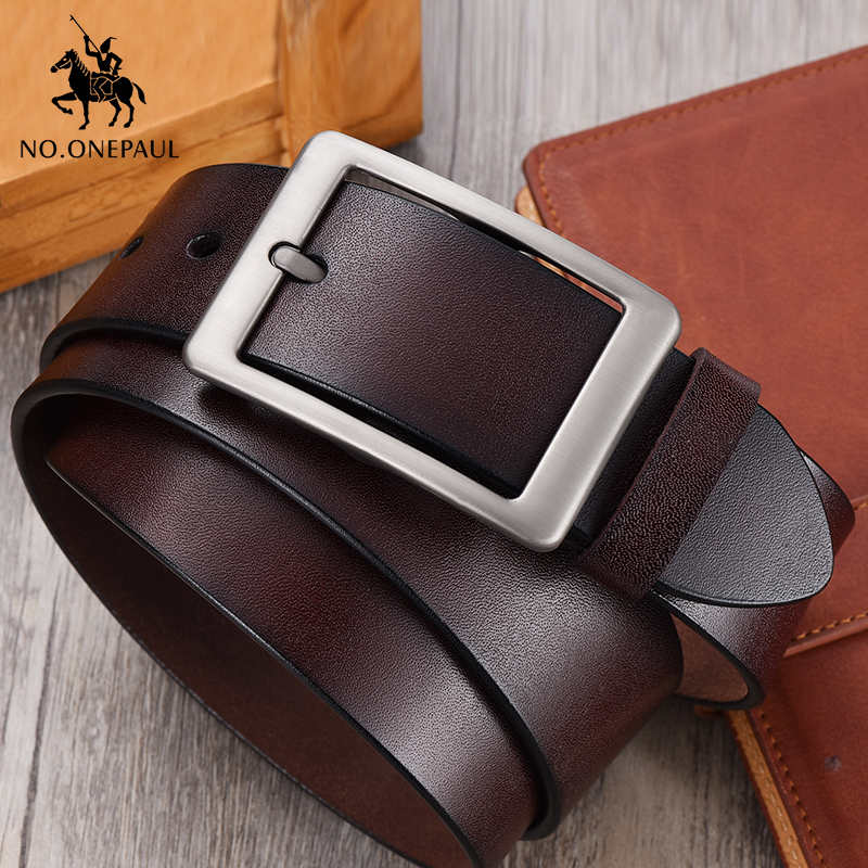 NO.ONEPAUL Men belt High Quality cow genuine leather luxury strap male belts for men new fashion classice vintage pin buckle(China)